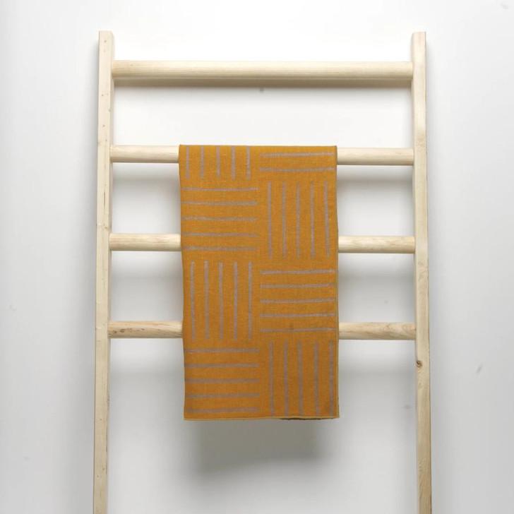 Hatch Block Printed Natural Linen Tea Towel, Turmeric