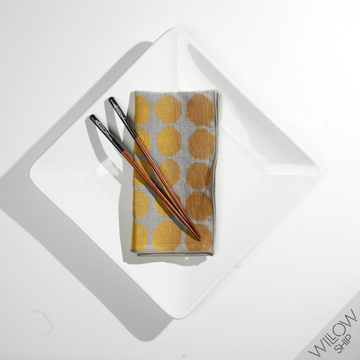 Signals Block Printed Natural Linen Dinner Napkins, Ochre (Set of 2)