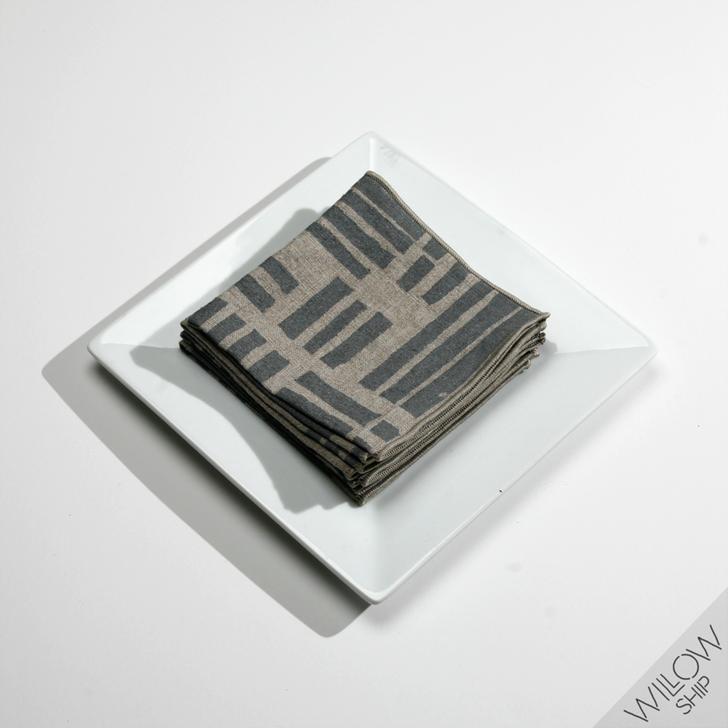 Maze Block Printed Natural Linen Cocktail Napkins, Gray (Set of 4)