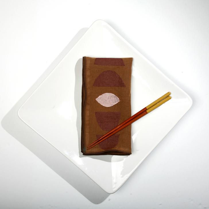 Stacks Block Printed Natural Linen Dinner Napkins, Terra/Petal (Set of 2)