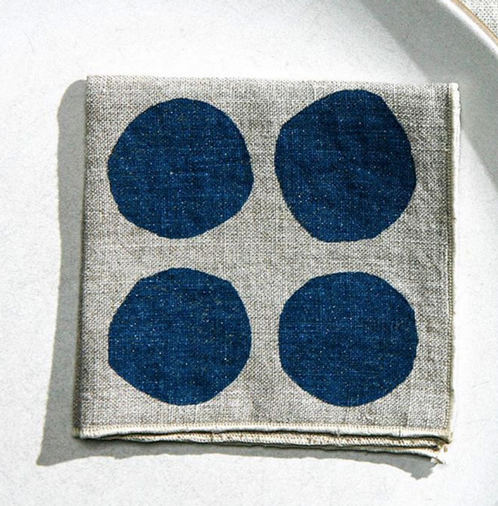 Spotty Block Printed Natural Linen Cocktail Napkins, Indigo (Set of 4)