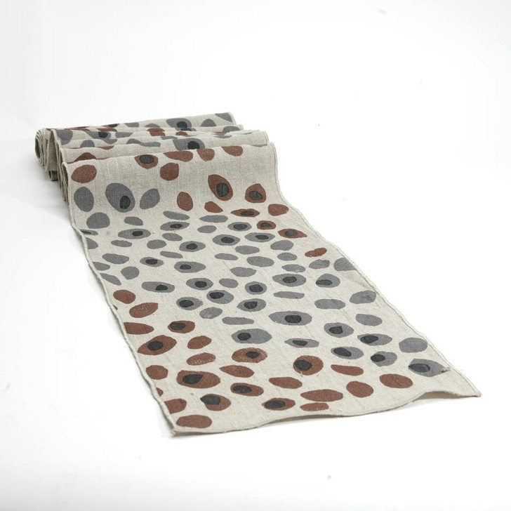 Pebbles Block Printed Natural Linen 6-Foot Table Runner, Gray