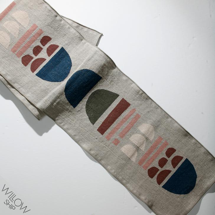 Totem Block Printed Natural Linen 6-Foot Table Runner, 2019 Colorway