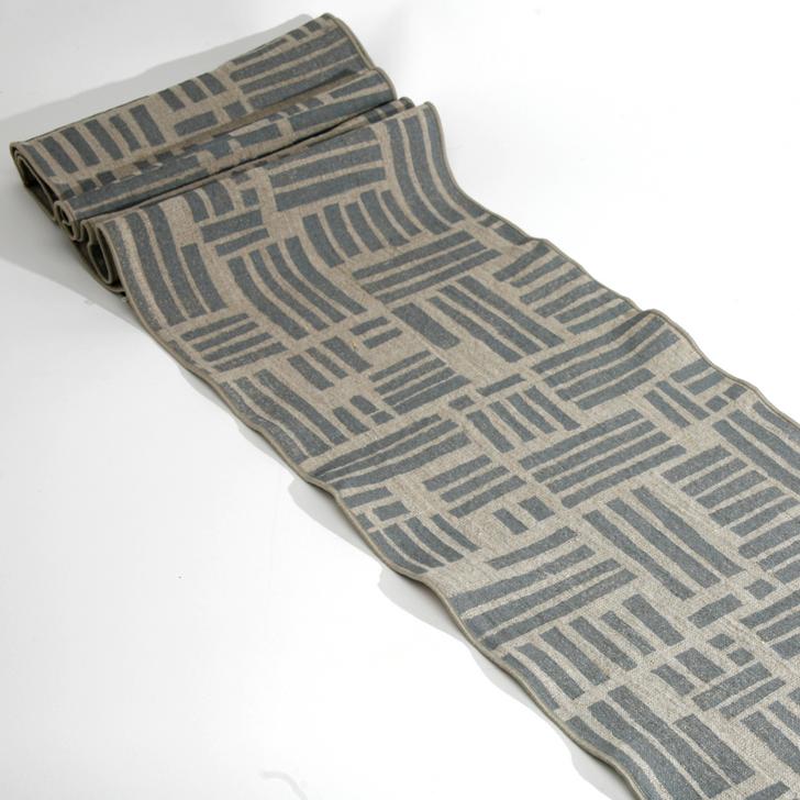 Maze Block Printed Natural Linen 6-Foot Table Runner, Gray