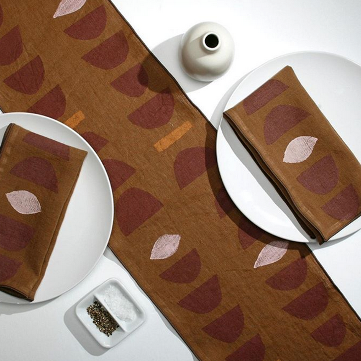 Stacks Block Printed Natural Linen 6-Foot Table Runner, Terra/Petal