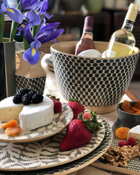 Terrafirma Ceramics Salad Bowl / Cachepot in Taj/Charcoal