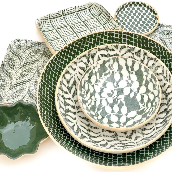 Forest Green Holiday Serveware and Serving Dish Collection by Terrafirma Ceramics (Pine)