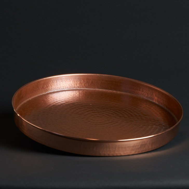 """Hammered Copper 14"""" Round Bar Cart and Serving Tray by Sertodo Copper"""