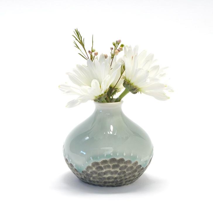 Handmade Porcelain Bud Vase (Celadon Blue) by Influx Ceramics