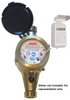 Mechanical Water meter with pulse output wire connects to T210-R/1P for digital remote reading.