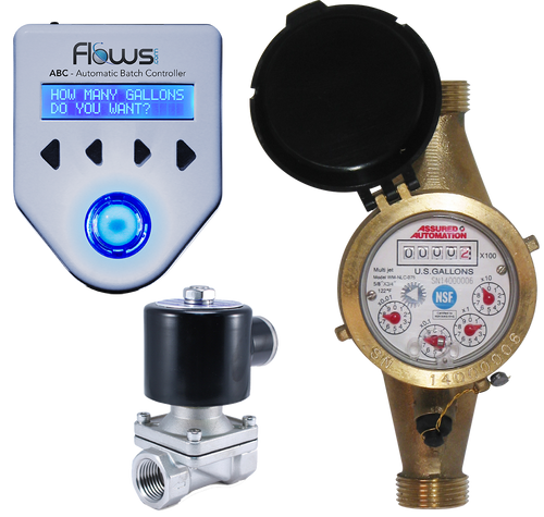 Batching System with Lead Free Brass Multi-jet Water Meter and Solenoid Valve