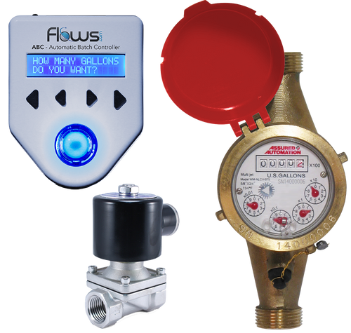 Batching System with Lead Free Brass Multi-jet Hot Water Meter and Solenoid Valve