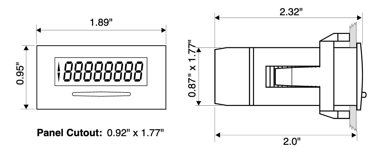 dimensions of the KAL-D06 digital display for water meters