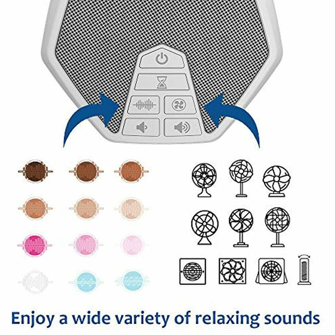 LectroFan Evo ASM1020-WK-RB White Noise Sound Machine with 22 Unique Non-Looping Fan and White Noise Sounds and Sleep Timer, White & Gray - Certified Refurbished