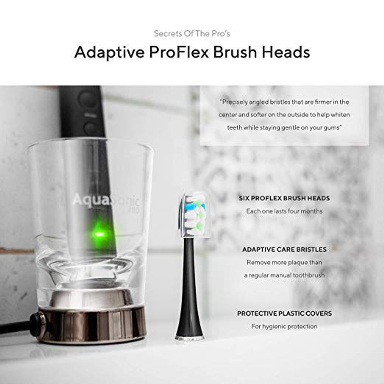 AquaSonic PDC-AQUA-PRO PRO Rechargeable Electric Toothbrush Black