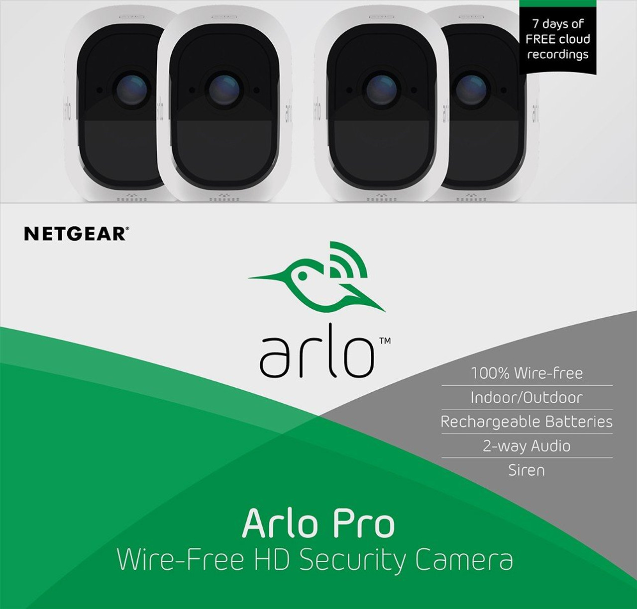 Arlo VMS4430P-100NAR Pro 2 Wire-Free Security System with 4x HD 1080P Cameras with 2-Way Audio - Certified Refurbished