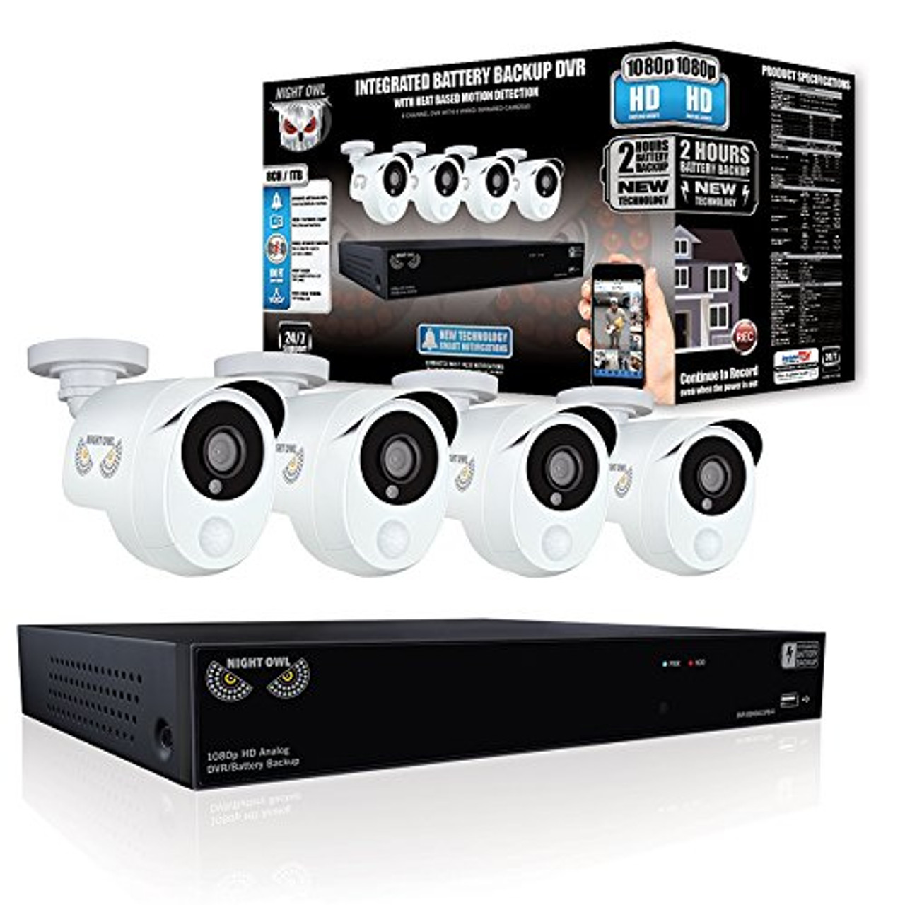 Night Owl HDA10P-841-BBPIR-R 8 Channel, 4 Camera PIR Indoor/Outdoor Wired 1080p 1TB DVR Integrated Battery Backup Surveillance System - Certified Refurbished