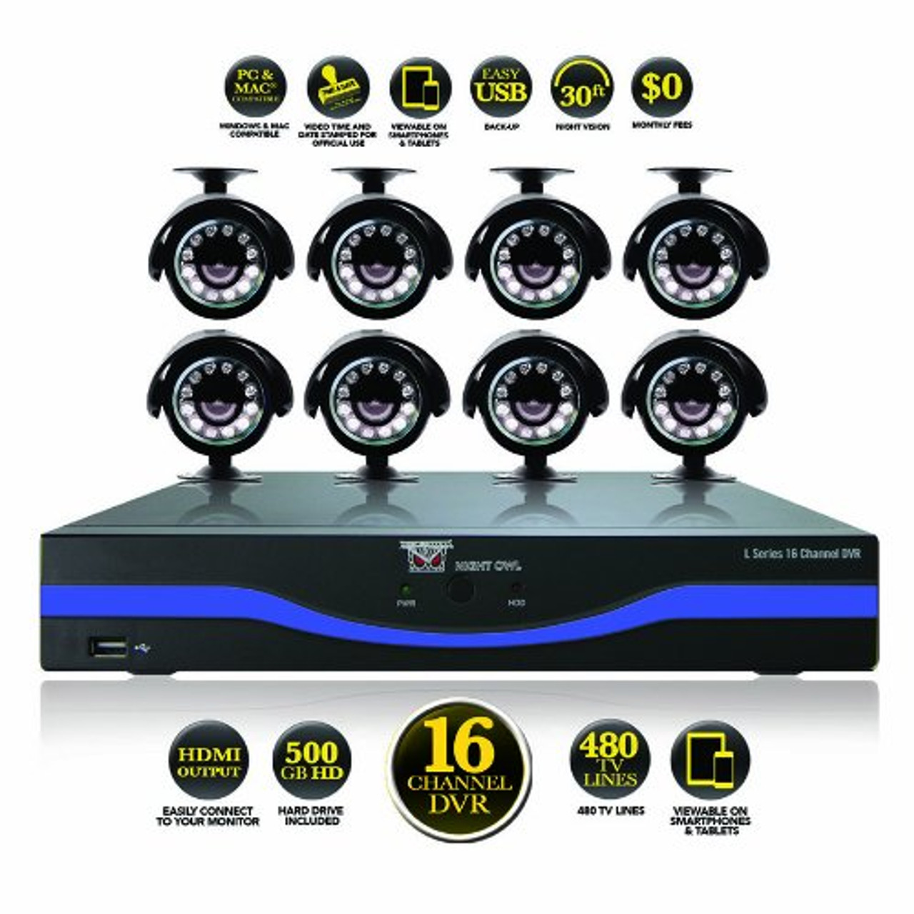 Night Owl Security L-165-8511-R 16 Channel DVR with 500GB HDD HDMI Output 8  Night Vision Cameras and Free Night Owl Lite App - Refurbished