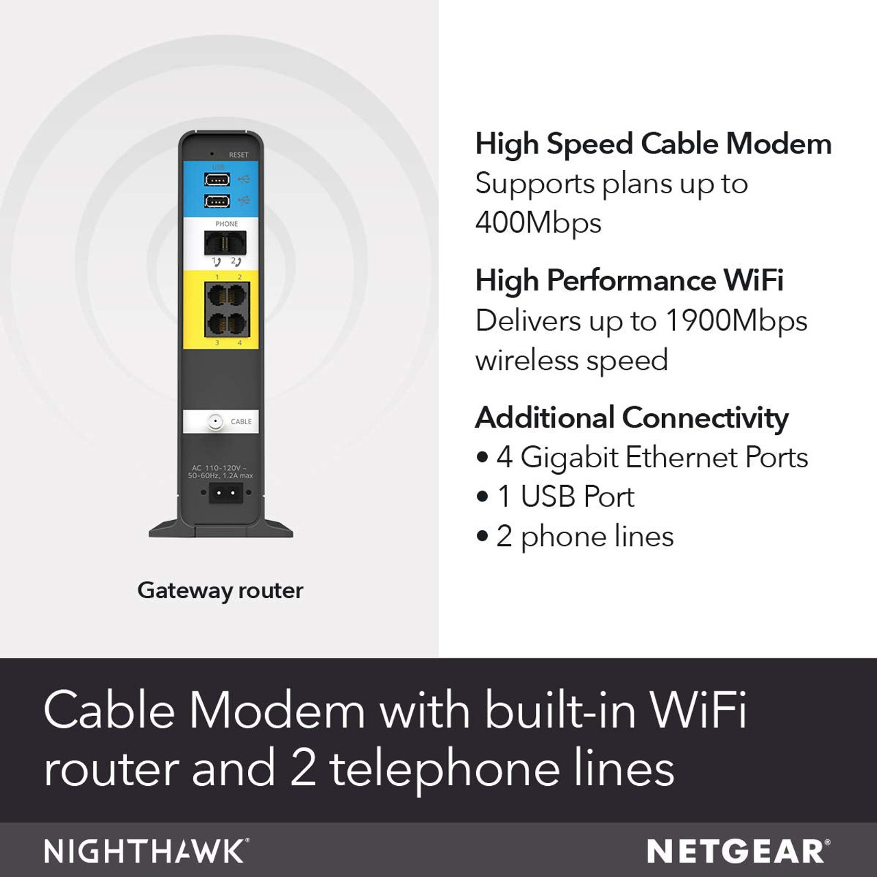 NETGEAR C7100V-100NAR Nighthawk AC1900 WiFi DOCSIS® 3.0 Cable Modem Router, For XFINITY® Internet & Voice – Certified Refurbished