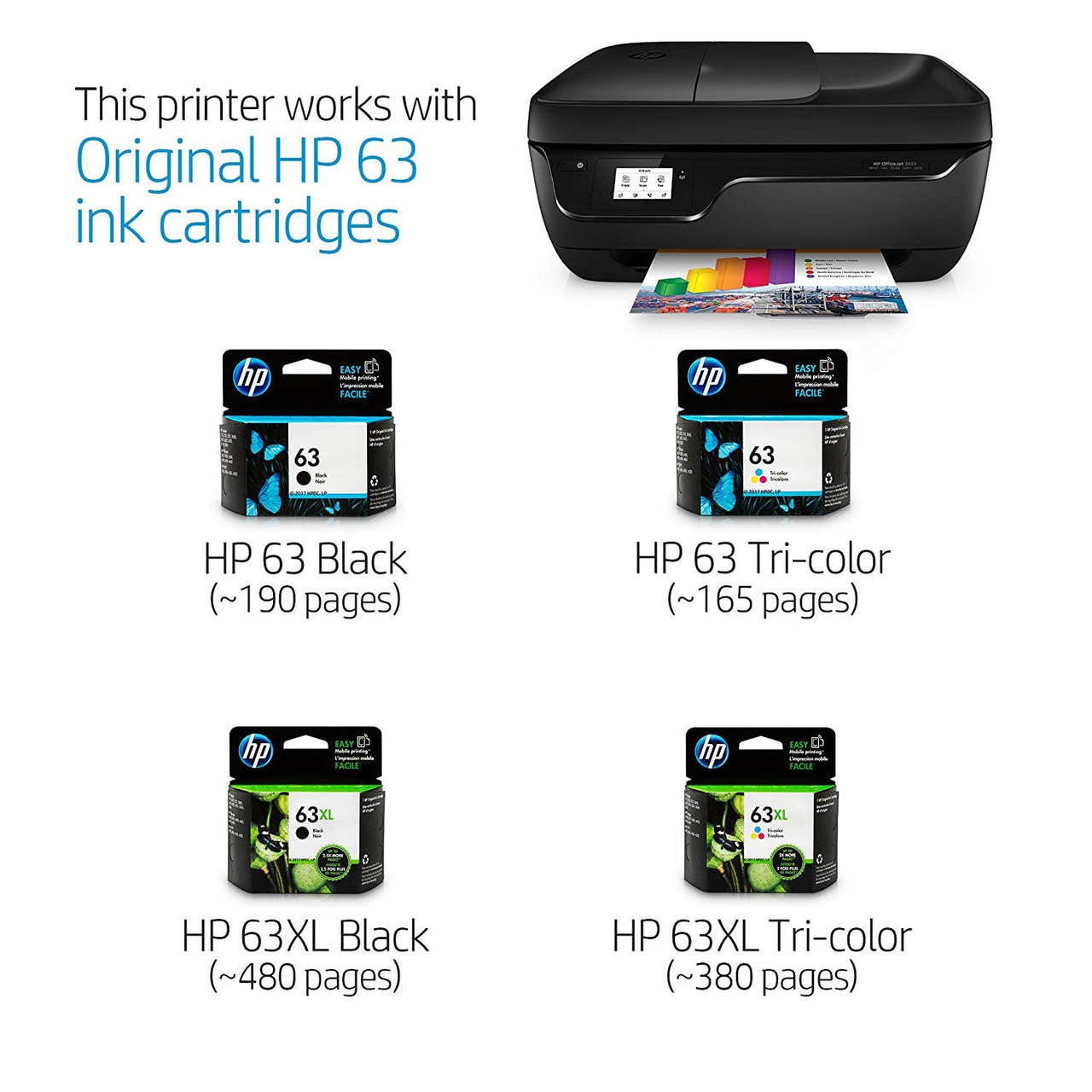 HP 3833 OfficeJet All-in-One Printer, HP Instant Ink & Amazon Dash Replenishment ready (K7V37A)