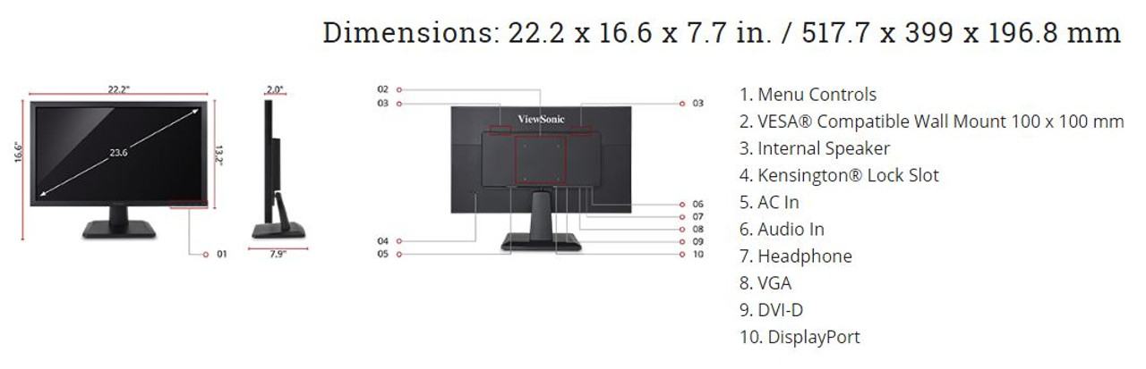 "ViewSonic VA2452SM-2-S 24"" 1080p LED Monitor - Refurbished"