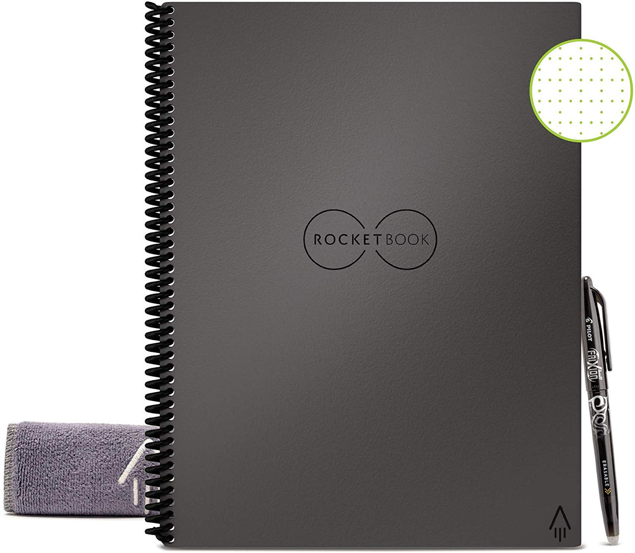 Rocketbook EVR-L-K-CIG Everlast Smart Reusable Notebook with Pen and Microfiber Cloth, Letter Size, Space Gray