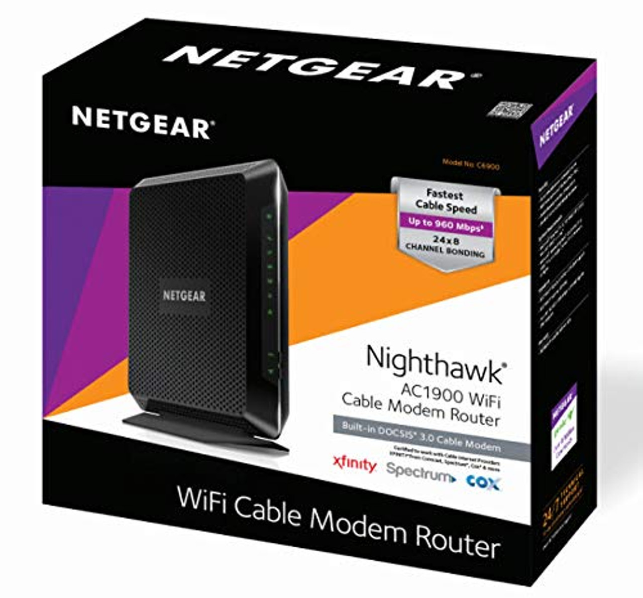 NETGEAR Nighthawk C6900-100NAR Dual Band AC1900 Cable Modem Router – Certified Refurbished