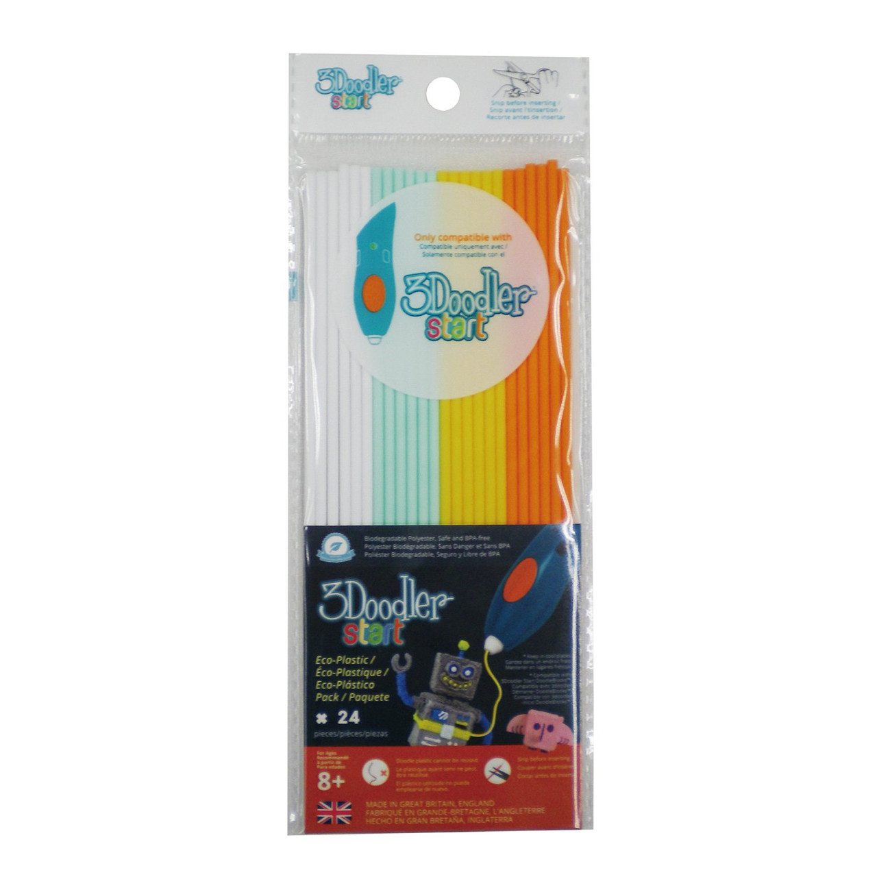 3Doodler 3DS-ECO-MIX1-24 Start Eco-Plastic Filament Tube Refill 24 Pack Fire&Ice