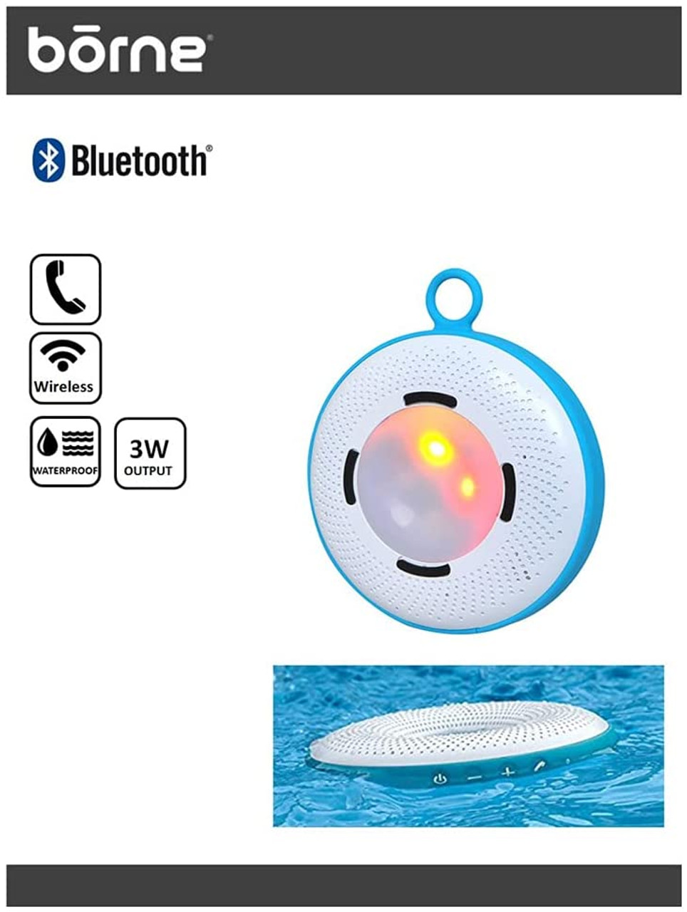 Borne BTSPK45 Waterproof Bluetooth Speaker with LED Party Lights that Floats