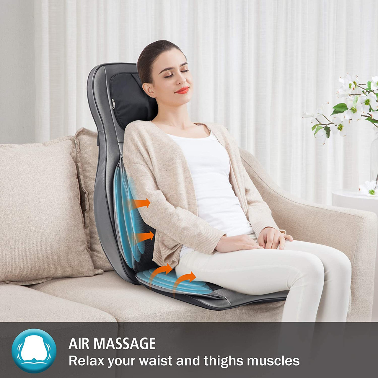 Comfier CF-2309 Neck and Back Massager with Heat Shiatsu Chair - Certified Refurbished