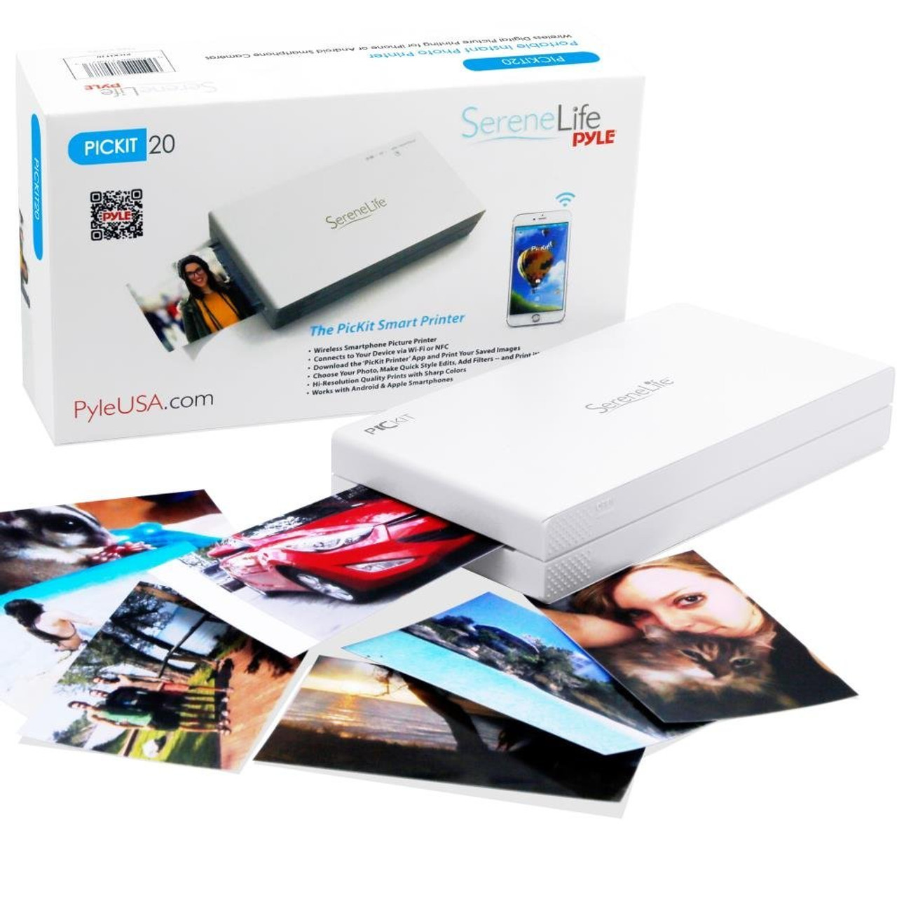 SereneLife PICKIT20 Portable Instant Mobile Wireless Photo Printer - White
