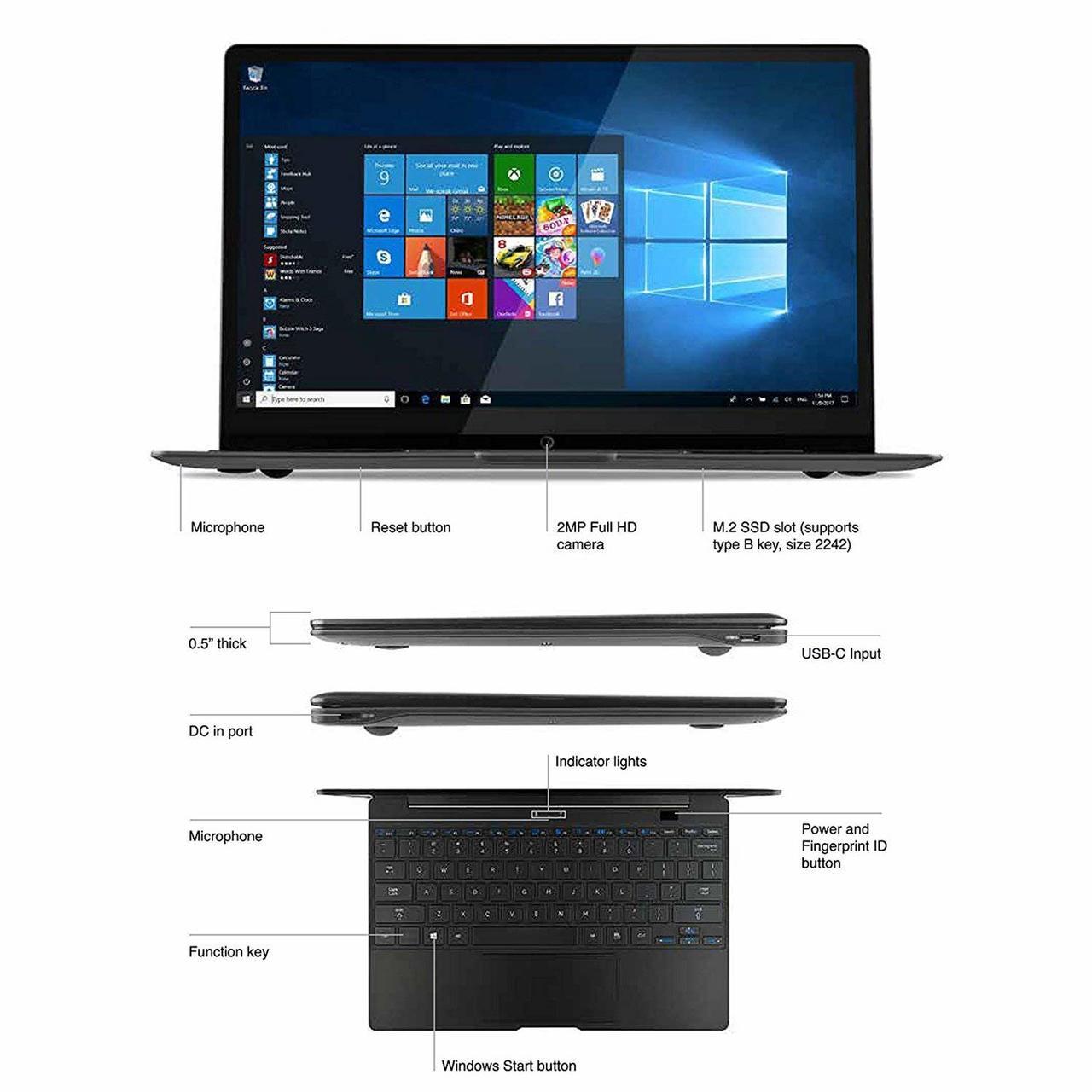 NuVision NEBP12-C464SBA Encite Book 12 Plus Slim Design Windows 10 Laptop
