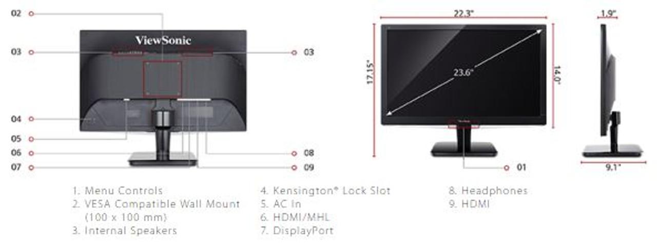 ViewSonic VX2475SMHL-4K-R 24in 4K Ultra HD LED HDMI, Display Port Monitor - C Grade Refurbished