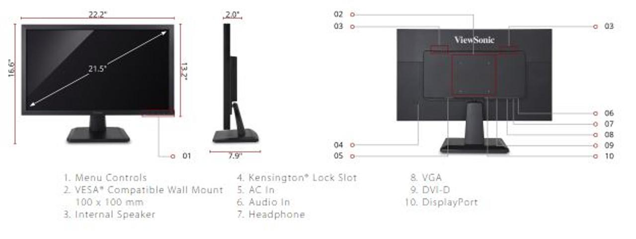 "ViewSonic VA2252SM-R 22"" 1080p LED Monitor DisplayPort, DVI, VGA - C Grade Refurbished"