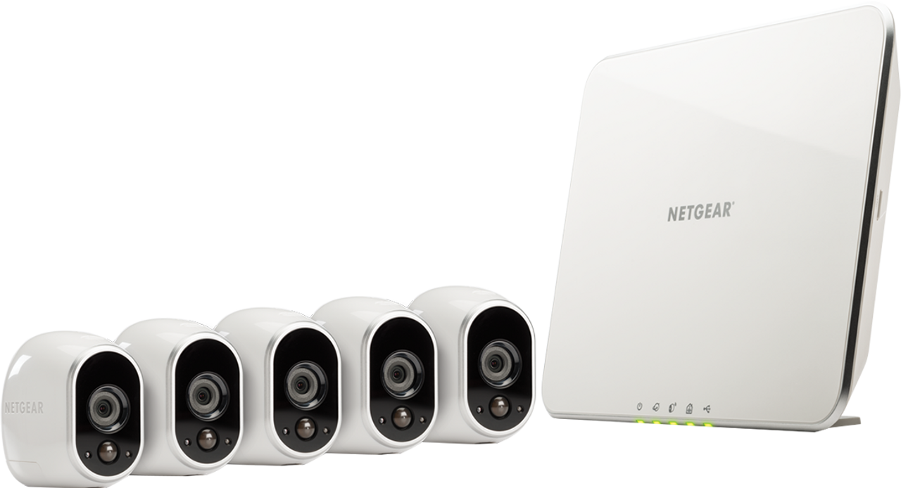 NetGear ArloVMS3530-100NAR 5 Wire-Free HD Cameras Night Vision and works with Alexa Security System - Certified Refurbished