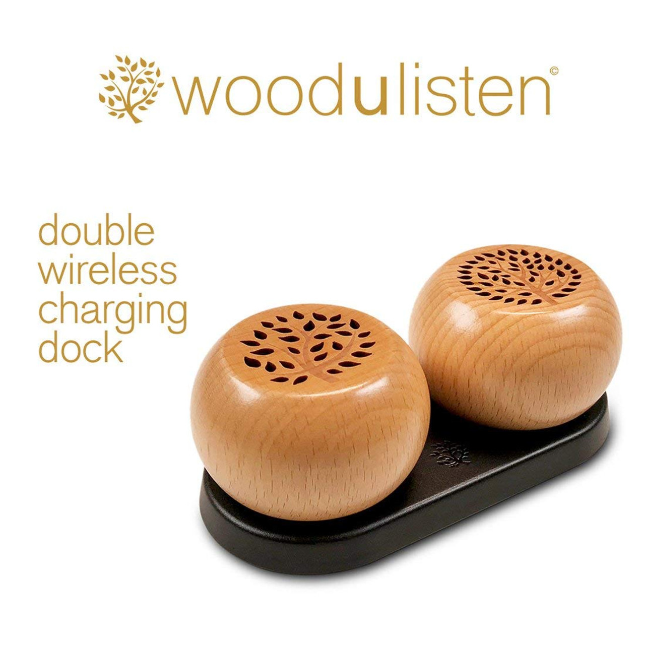 Woodulisten WUL-STEREOSET-NATURAL Wooden Wireless Mini Bluetooth Speaker Stereo Set with Charging Dock