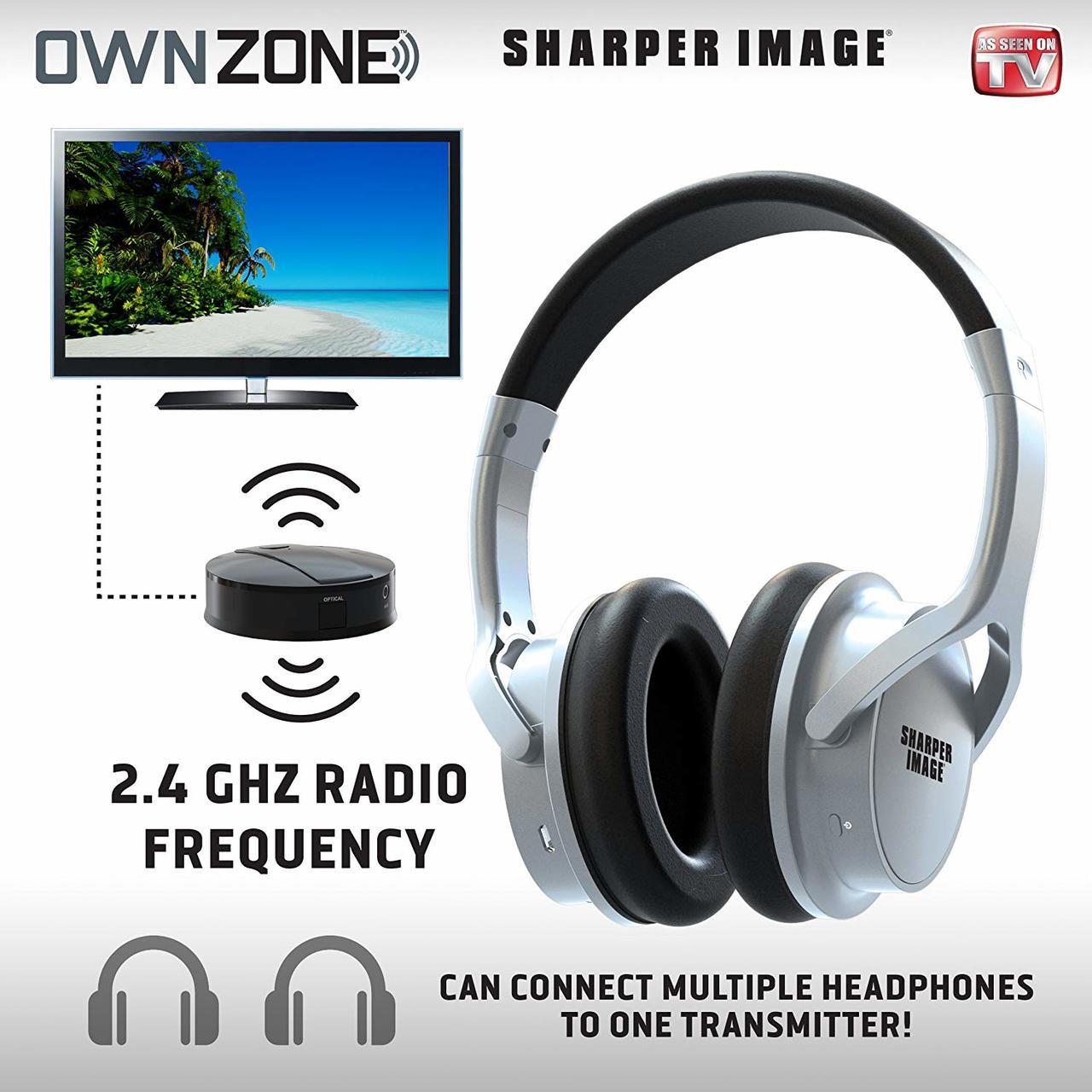 Sharper Image Own Zone Dlx Wireless Tv Headphones With Transmitter