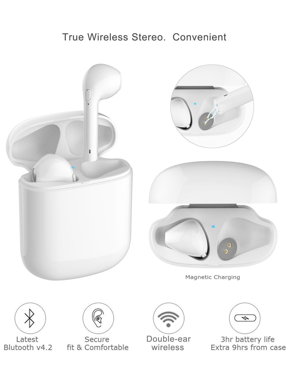 Sound & Sonic SS-WBHC-WT-R Wireless Earbuds Bluetooth v4.2 HD Stereo Sound (White with Charging Case) - Refurbished