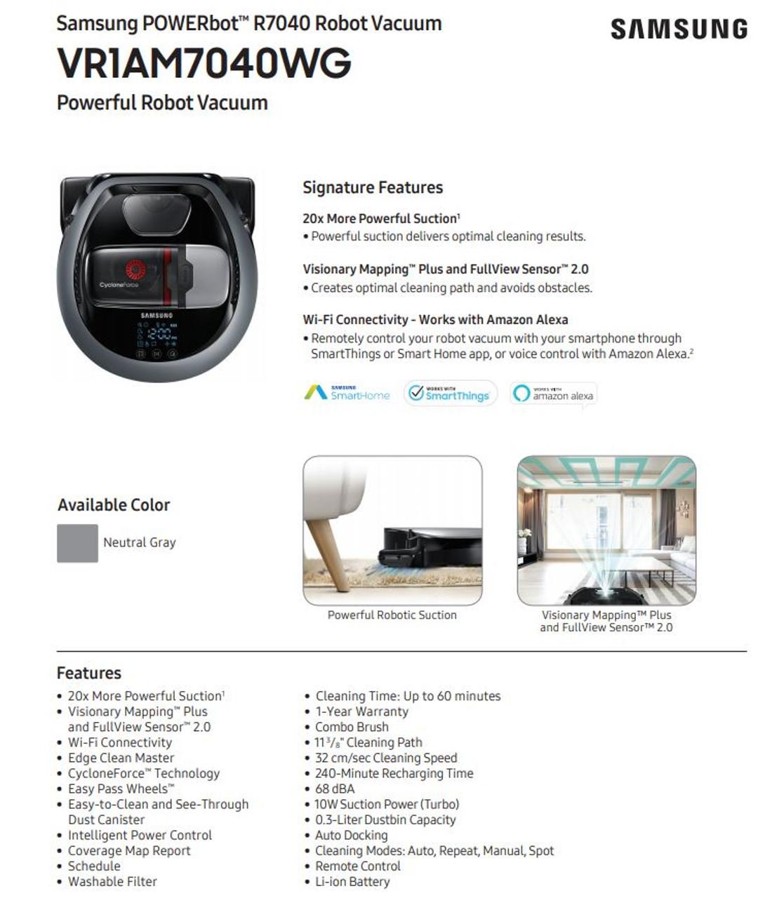 Samsung VR1AM7040WG-R POWERbot Vacuum R7040- Certified Refurbished