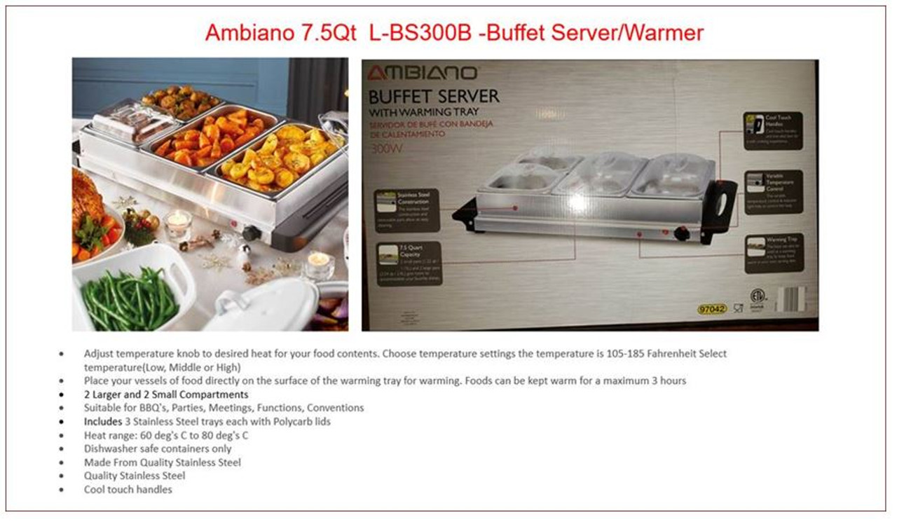 Ambiano L-BS300B -Stainless Steel Buffet Server/Warmer - L-BS300B