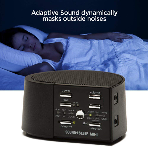 Sound+Sleep Mini ASM1014-K-RB High Fidelity Sleep Sound Machine with AC and Battery Power, Real Nature Sounds, Fan Sounds, White Noise and Adaptive Sound Technology, Black - Certified Refurbished