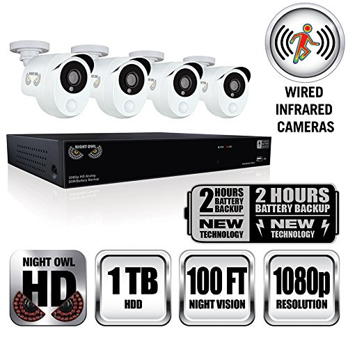 Night Owl HDA10P-841-BBPIR-R 8 Channel, 4 Camera PIR Wired 1080p 1TB DVR Integrated Battery Backup Surveillance System - Certified Refurbished