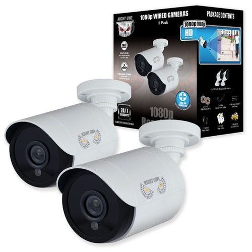 Night Owl CAM-2PK-HDA10W-BU-R 2 Pack Add–On 1080p HD Wired Security Bullet Cameras - Certified Refurbished