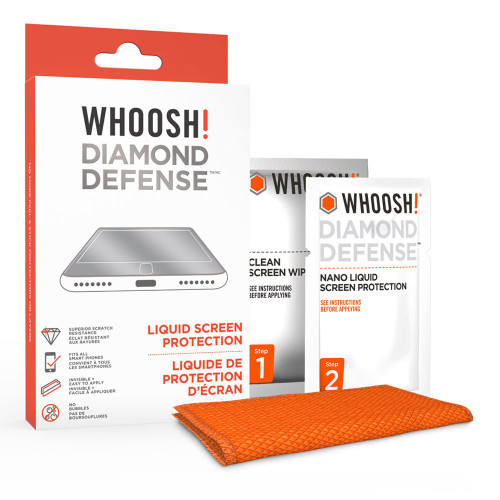 WHOOSH 1FGDDENFR Diamond Defense - Superior Nano Liquid Screen Protector Wipe - Fits All Screens Phones or Tablets