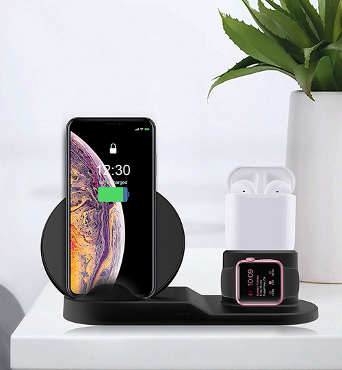 Airdock STK-WCST-BK 3 in 1 Wireless Charging Station for Wireless Charging iPhones, Apple Watch and Apple Airpods - Black