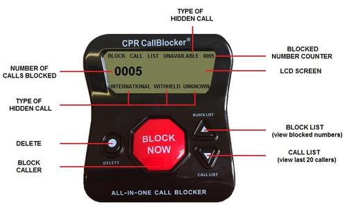CPR V5000 Call Blocker for Landline Phones- Black