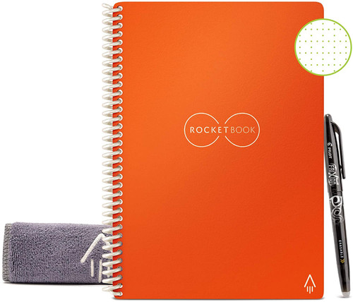 Rocketbook EVR-E-K-CLF Everlast Smart Reusable Notebook with Pen and Microfiber Cloth, Executive Size, Orange