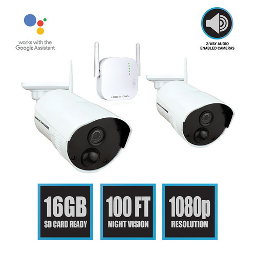 Night Owl CL-WG416-2OU 2 AC Powered 1080p HD Indoor/Outdoor Wireless Cameras