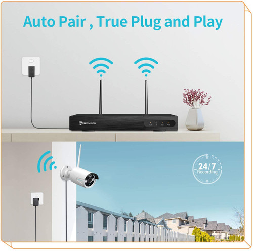 HeimVision HM241 1080P 8CH NVR 4Pcs Outdoor Wireless Security Camera System, Hard Drive is NOT Included