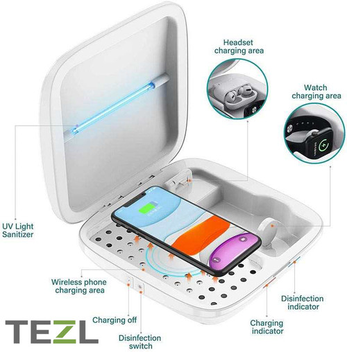 TEZL TZLUV-21 4 in 1 Multi port Charging Station and Sanitation Box